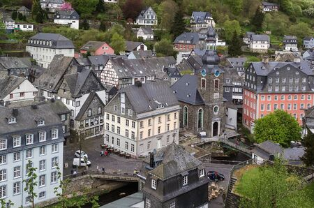 protestant: view of Monschau town centre with Protestant Church from hill top, Germany