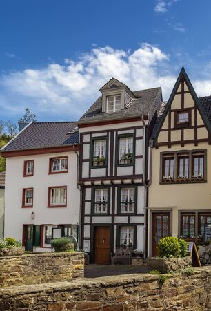 roof framework: The street with historical half-timbered houses in Bad Munstereifel, Germany