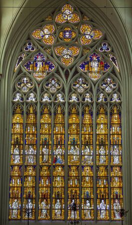 dom: stained-glass window in Altenberger Dom, Germany Editorial