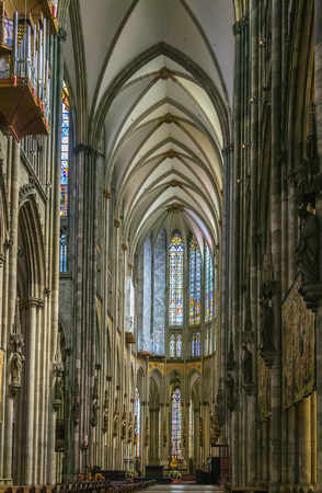 nave: Cologne Cathedral is a Roman Catholic cathedral in Cologne, Germany. Interior, central nave Editorial