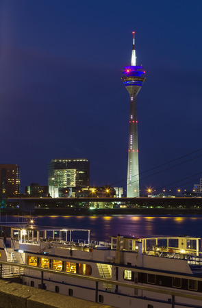 metre: The Rheinturm (Rhine Tower) is a 240.5 metre high concrete telecommunications tower in Dusseldorf,Germany Editorial