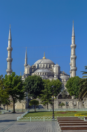 sultan: The Sultan Ahmed Mosque known as the Blue Mosque is an historic mosque in Istanbul. View from Sultan Ahmed square
