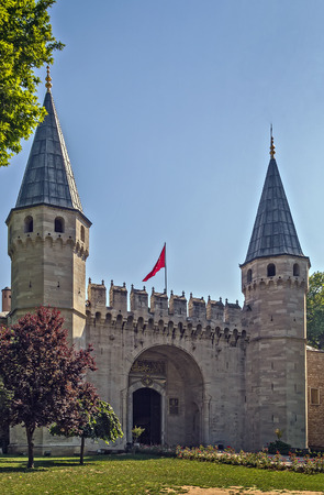 salutation: The Gate of Salutation, entrance to the Second courtyard of Topkapi Palace, Istanbul Editorial