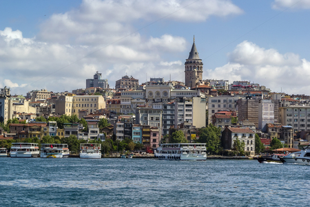 istanbul: View of  Istanbul Beyoglu area with  Galata Tower from Bosphorus