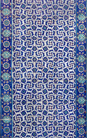 background design: the Turkish ceramic tiles from Rustem Pasha Mosque, Istanbul