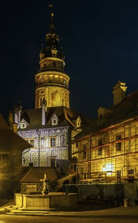 krumlov: view of Cesky Krumlov castle tower in evening,Czech republic