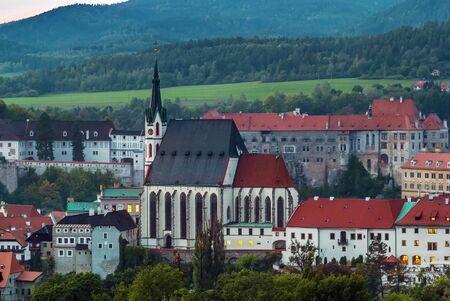 unesco in czech republic: view of Cesky Krumlov with St. Vitus church from the hill, Czech republic Editorial
