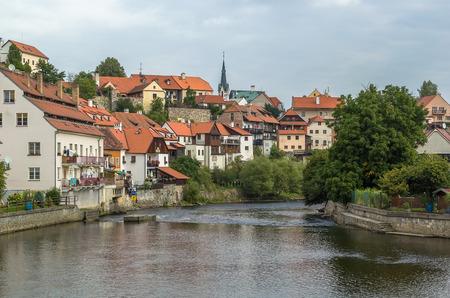 vltava: historic houses along Vltava river in Cesky Krumlov, Czech republic Stock Photo