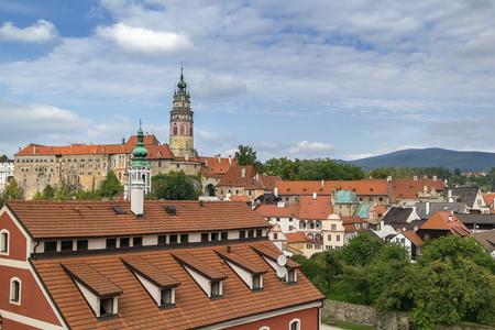 unesco in czech republic: view of Cesky Krumlov with castle, Czech republic