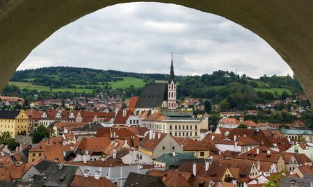 krumlov: view of Cesky Krumlov from castle hill, Czech republic Editorial