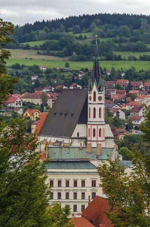 unesco in czech republic: view of St. Vitus Church from castle hill, Cesky Krumlov, Czech republic