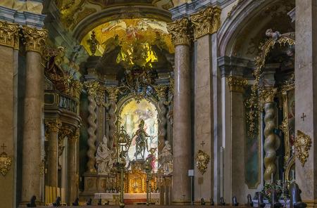 Weltenburg Abbey is a Benedictine monastery in Weltenburg near Kelheim on the Danube,  Germany. Interior, altar