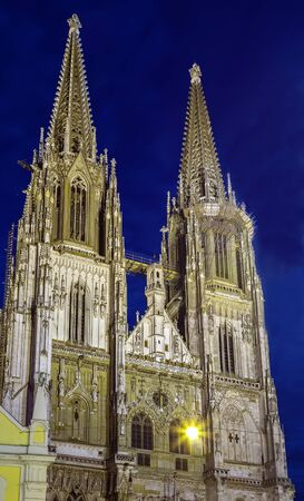 st german: St. Peters Regensburg Cathedral is an example of pure German Gothic, Germany. Evening