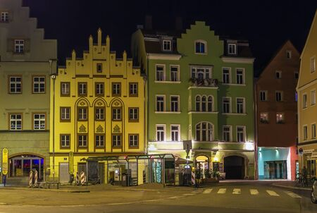 historic buildings: square in Regensburg with historic buildings in evening, Germany
