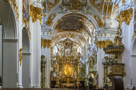 regensburg: Old Chapel in Regensburg is the best example of Bavarian rococo style, Germany. Interior, Altar