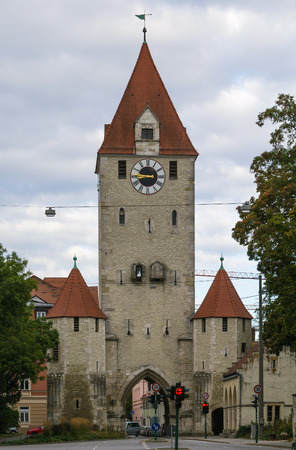 regensburg: Historically gate towers is part of town fortification of Regensburg, Germany