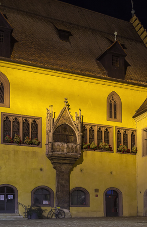 old town hall: Old Town Hall in evening, Regensburg, Germany Stock Photo