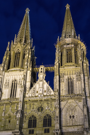 regensburg: St. Peters Regensburg Cathedral is an example of pure German Gothic, Germany. Evening