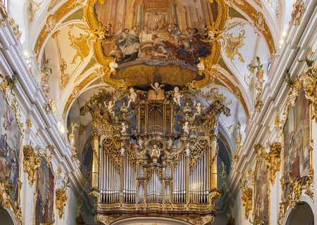 Old Chapel in Regensburg is the best example of Bavarian rococo style, Germany. Interior, organ