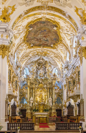rococo: Old Chapel in Regensburg is the best example of Bavarian rococo style, Germany. Interior, Altar
