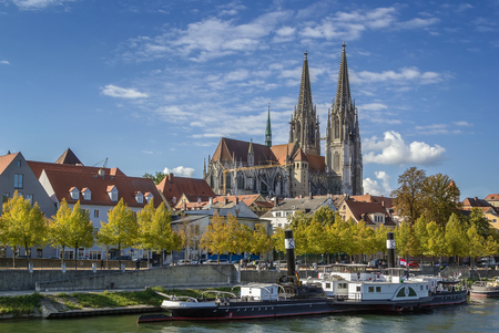 regensburg: view of Regensburg Cathedral from Danube, Germany Stock Photo