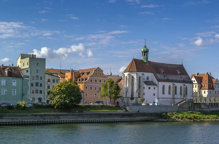 oswald: view Regensburg  with Church of St. Oswald from Danube, Germany