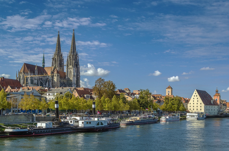 regensburg: view of old town of Regensburg from Danube, Germany