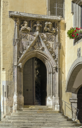 old town hall: decoration Portal of Old town hall, Regensburg, Germany Stock Photo