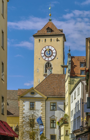 regensburg: view of Town hall tower in Regensburg old town, Germany