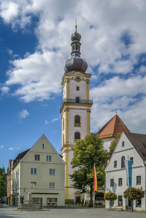 protestant: tower of St. Michael  Protestant church in Weiden in der Oberpfalz, Germany