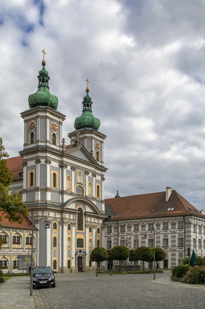 The Waldsassen Basilica Assumption of Mary and St. John the Evangelist is the parish church in Waldsassen, Bavaria. It was built in its present form from 1685 to 1704 as part of the Waldsassen Abbey Stock Photo
