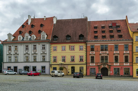 main market: historic houses on main market square in Cheb, Czech republic