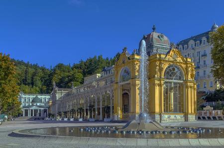 view Main Spa Colonnade with Singing Fountain in Marianske Lazne, Czech republic