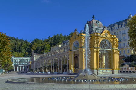 view Main Spa Colonnade with Singing Fountain in Marianske Lazne, Czech republic