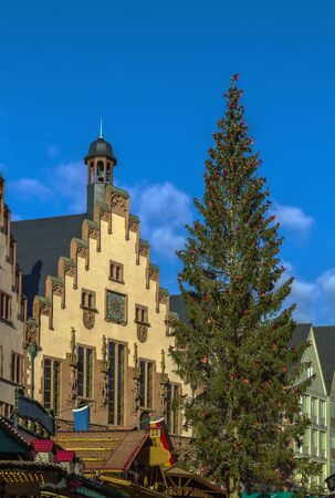 the medieval: Christmas tree in front of the town hall on Romerberg square, Frankfurt, Germany