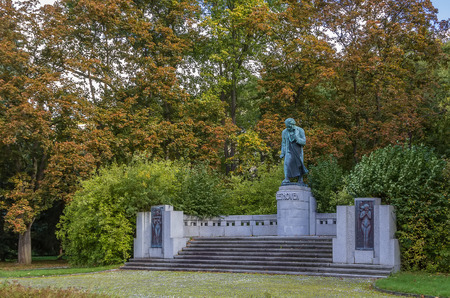 beethoven: Monument to Beethoven in park about parkhotel Richmond, Karlovy Vary, Czech republic Stock Photo