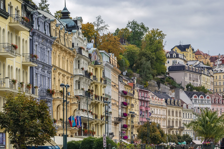 karlovy: street with beautiful historical houses in Karlovy Vary city center, Czech republic