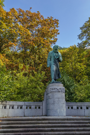 Monument to Beethoven in park about parkhotel Richmond, Karlovy Vary, Czech republic Editorial