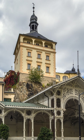 karlovy vary: Castle Tower and Market Colonnade in the historical center of Karlovy Vary, Czech republic