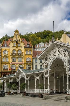 karlovy: city centre of Karlovy Vary with Market Colonnade,Czech republic Stock Photo
