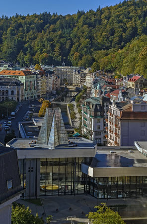 karlovy vary: View of Karlovy Vary with Hot Spring Colonnade, Czech republic