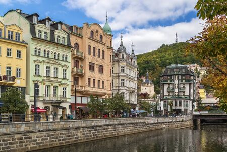 vary: embankment of Tepla river in the center of Karlovy Vary, Czech republic Stock Photo