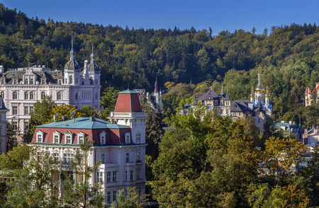 karlovy vary: View of Karlovy Vary from hill, Czech republic