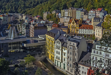 karlovy vary: View of historical center of Karlovy Vary from hill, Czech republic