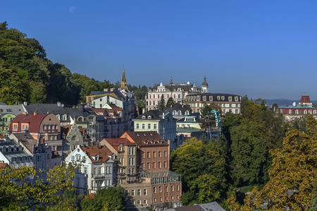 View of Karlovy Vary from hill, Czech republic