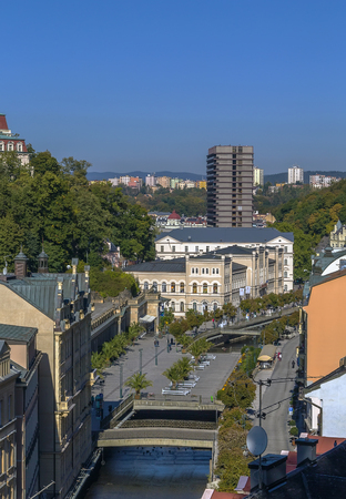 karlovy: View of historical center of Karlovy Vary from hill, Czech republic