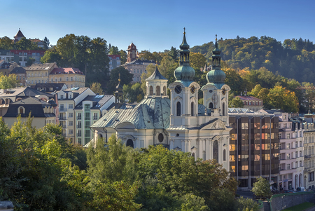 karlovy vary: View of Karlovy Vary with Church of St. Mary Magdalene, Czech republic