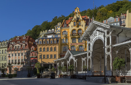 city centre of Karlovy Vary with Market Colonnade,Czech republic Standard-Bild