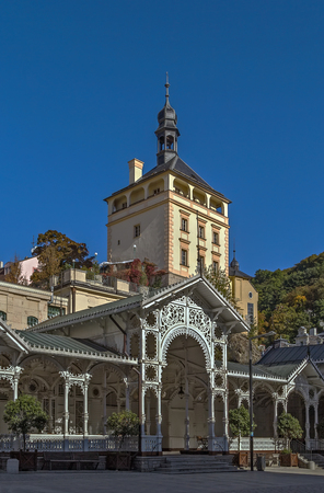 karlovy vary: Market Colonnade and Castle Tower in the historical center of Karlovy Vary, Czech republic