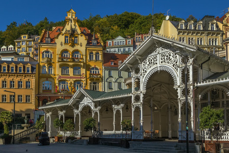 karlovy: city centre of Karlovy Vary with Market Colonnade,Czech republic Stock Photo